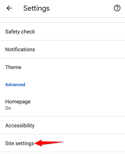 """Tap """"Site Settings"""" on the """"Settings"""" page in Chrome on Android."""