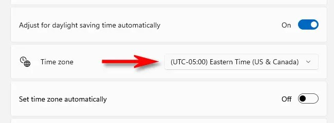 """Click the drop-down menu beside """"Time Zone"""" and select the time zone you'd like to use."""
