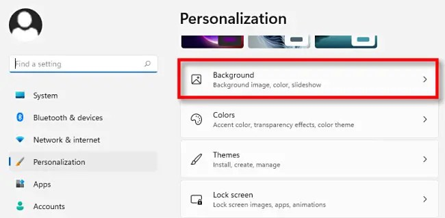 """In Windows 11 personalization settings, click """"Background."""""""
