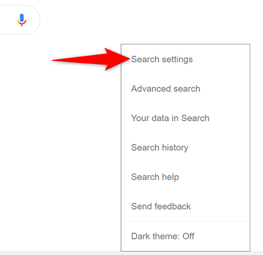 """Select """"Search Settings"""" from the """"Settings"""" menu on Google Search on desktop."""