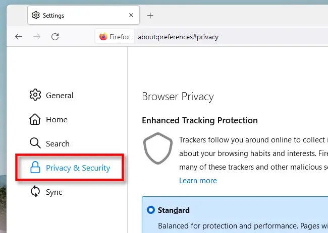 """In Firefox Settings, click """"Privacy & Security."""""""