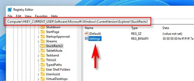 """Navigate to the Registry key and open """"Settings."""""""