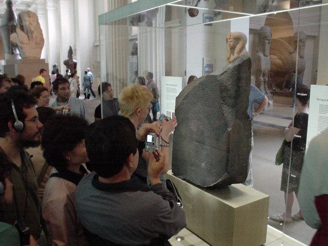 The Rosetta Stone, anda lot of people crowding around it
