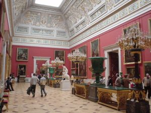 One of the lushly-appointed halls of the Hermitage