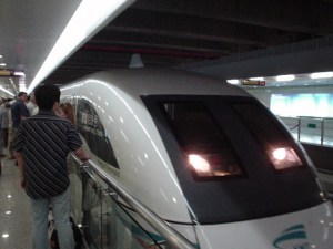 The train arrives at Pudong Airport station