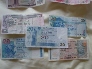An array of HK$20 bills