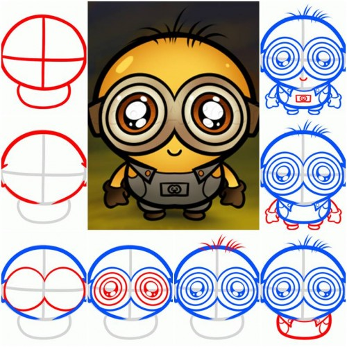 how to draw a chibi minion step by step diy tutorial instructions
