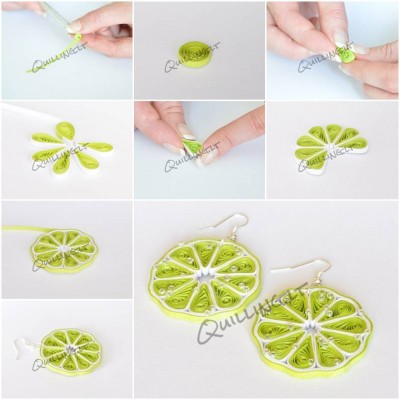 How To Make Quilled Green Lemon Earrings Step By Step DIY
