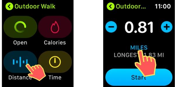 Расстояние между KM или Mile On Apple Watch