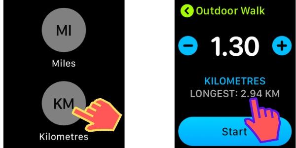 Расстояние между KM или Mile On Apple Watch для бега и ходьбы