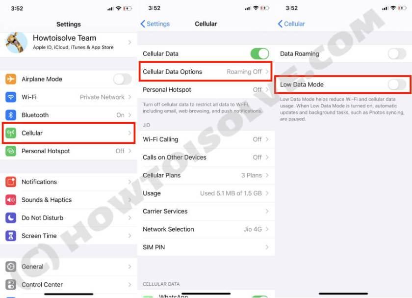 Отключить режим низкого уровня данных на iPhone