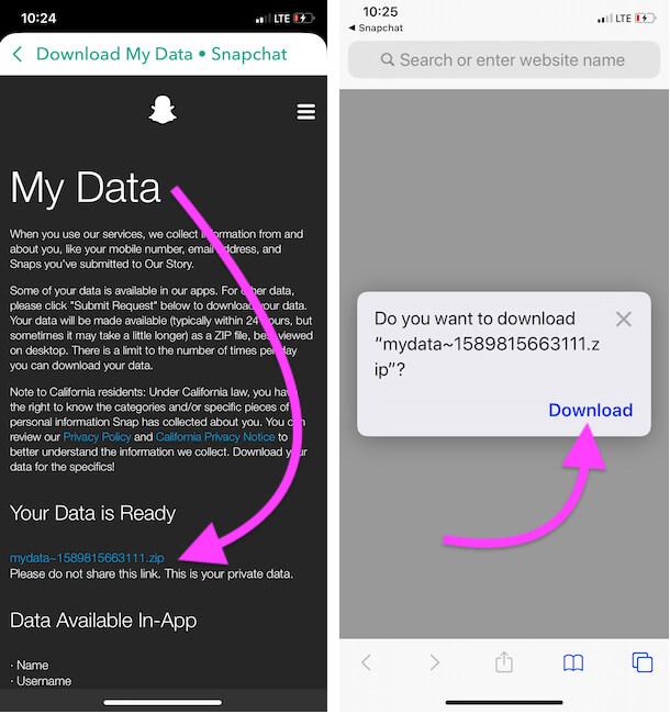 Загрузить данные Snapchat в приложение для файлов iPhone