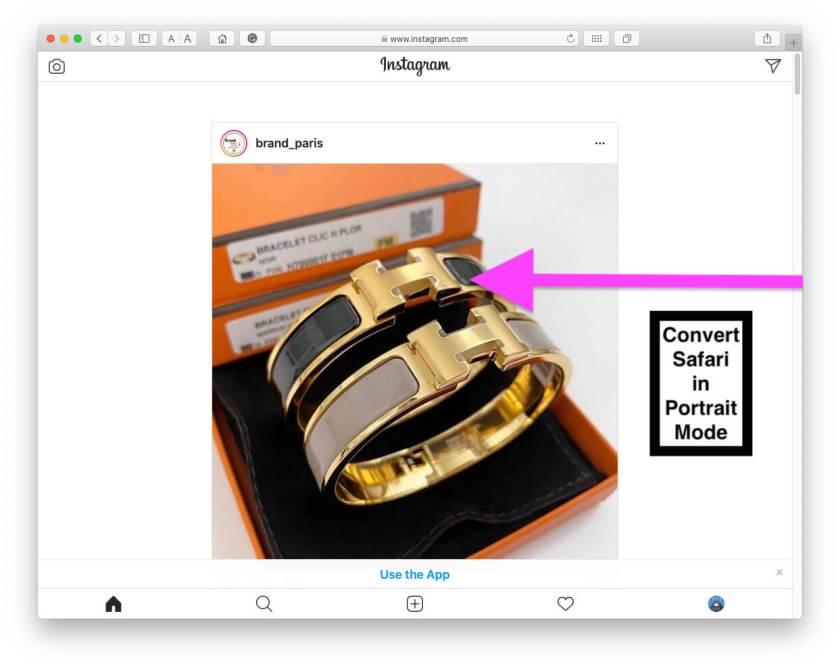 Instagram на Safari Mac во весь экран