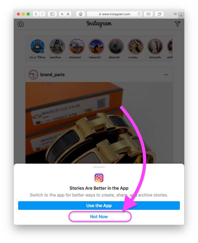 Продолжайте использовать браузер для Instagram в браузере Mac