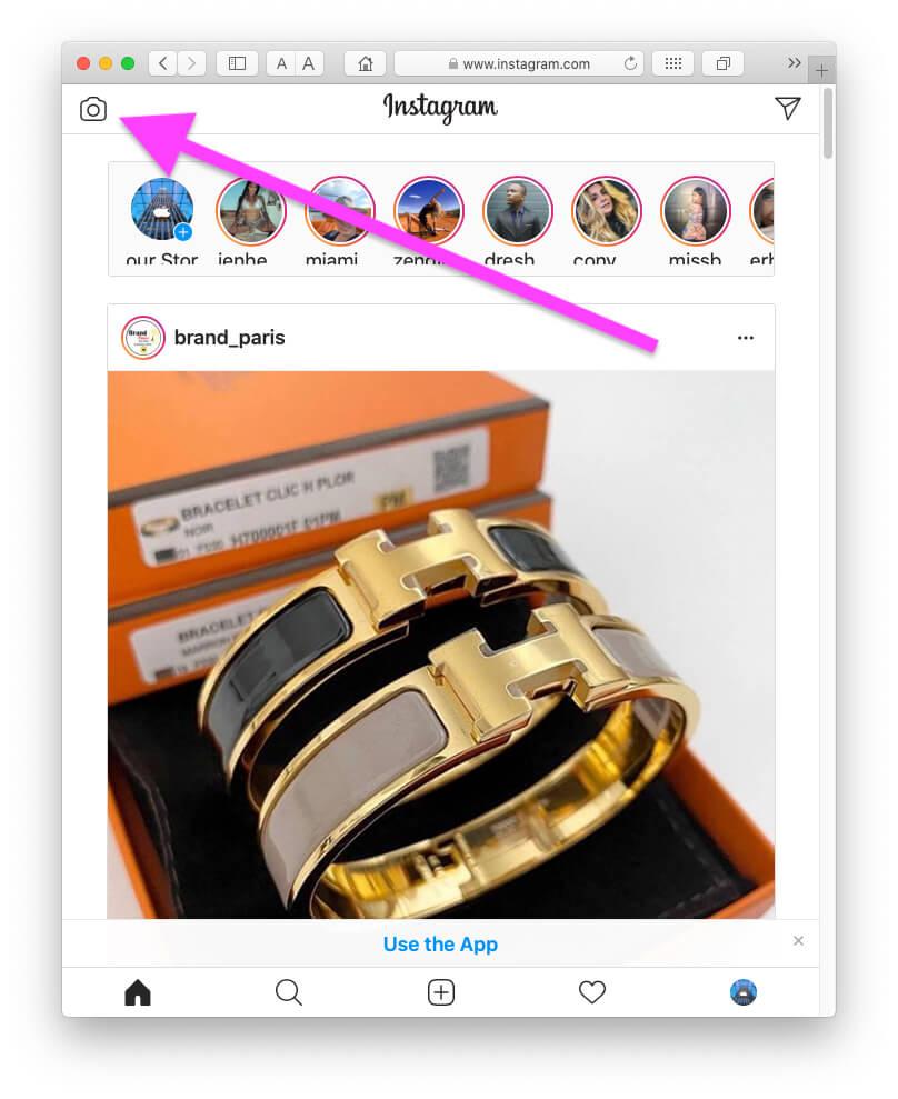 Нажмите на значок камеры, чтобы загрузить новую историю Instagram из Safari MacBook Mac Browser