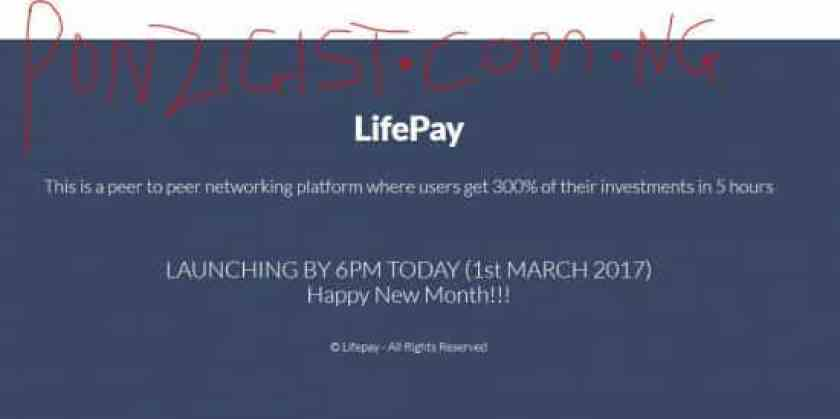 LifePay Login- Get 300% of Investment Launching By 6PM 1st March