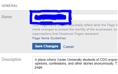 How to change Facebook name on my page