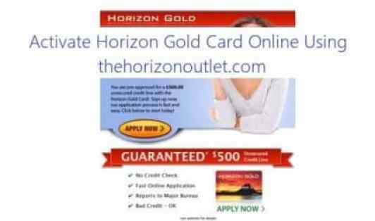 Activate Horizon Gold Card Online Using thehorizonoutlet.com