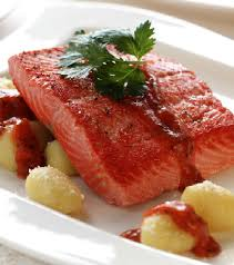 Salmon is good for lowering blood pressure.