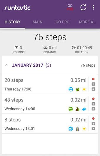 Runtastic step counter app