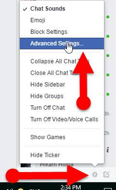 Advanced Chat Settings on Facebook