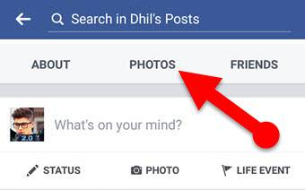 Facebook photos tab on mobile