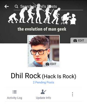 Facebook profile on Mobile 2017