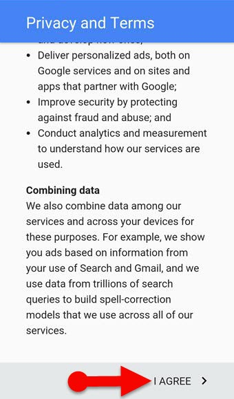 Privacy and terms of Google for Gmail in mobile