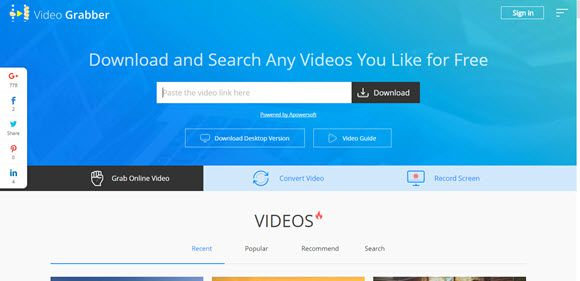 Video Grabber online video downloader from any site free download
