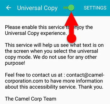 Android accessibility settings Universal Copy App