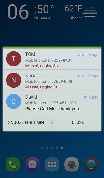 missed call reminder app for Android