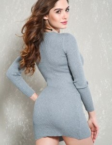 Sexy Grey Long Sleeves Bodycon Sweater Dress