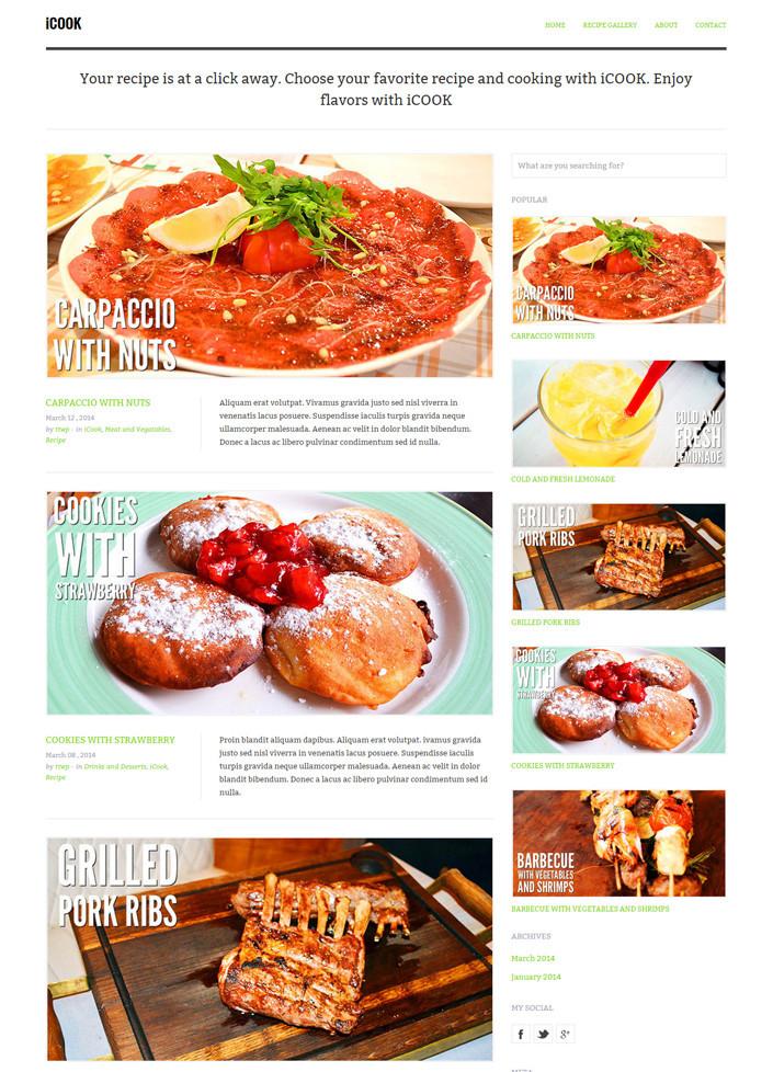 Food Blogging WordPress Theme