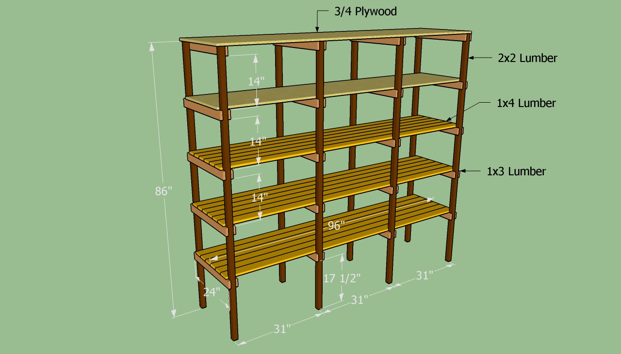 wood shelf storage plans