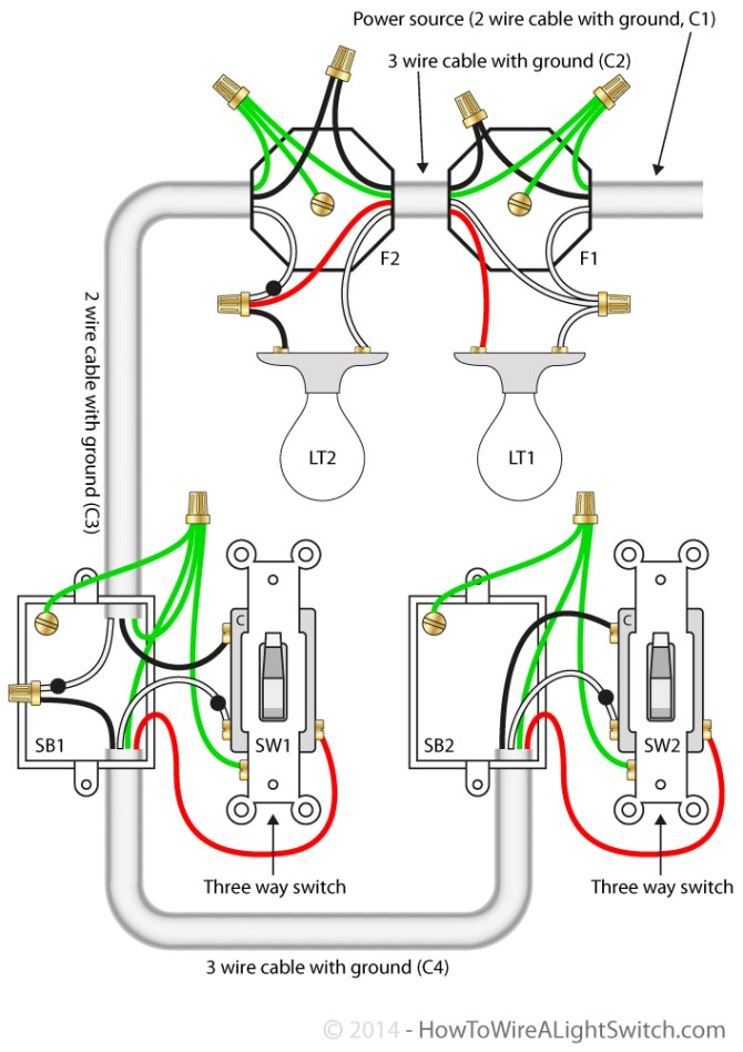 3 way switch with power feed via the light multiple lights