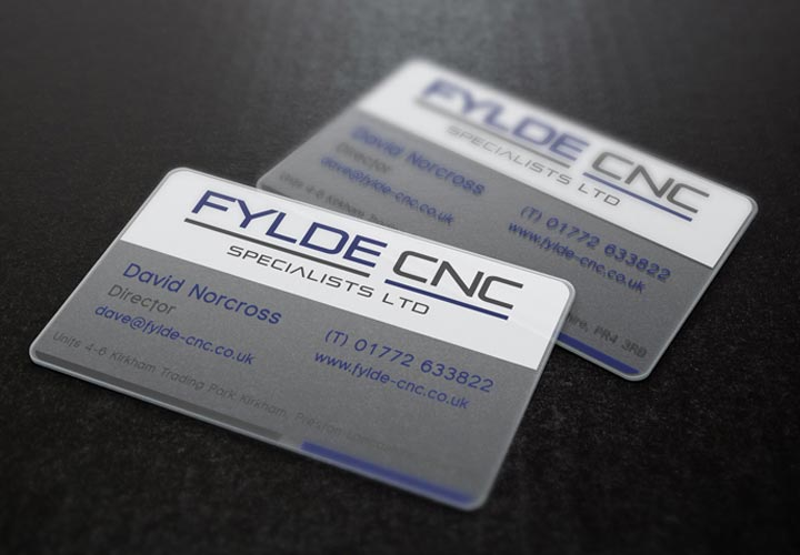 Fylde CNC plastic business cards branding