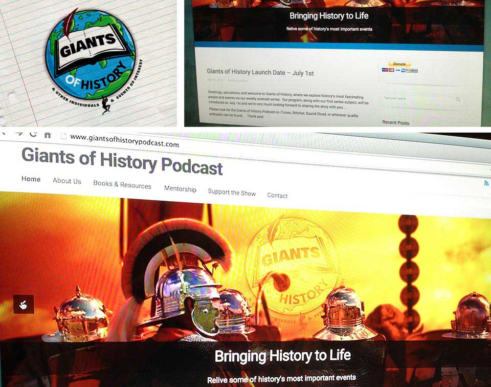 Giants Of History Podcast logo and website branding