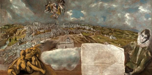 El Greco. Vista y plano de Toledo, 1610-1614. Museo del Greco.
