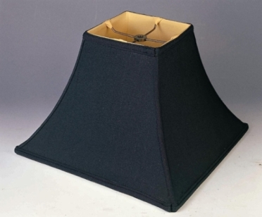 Square Lamp Shade Black Silk With Bell Curved Sides