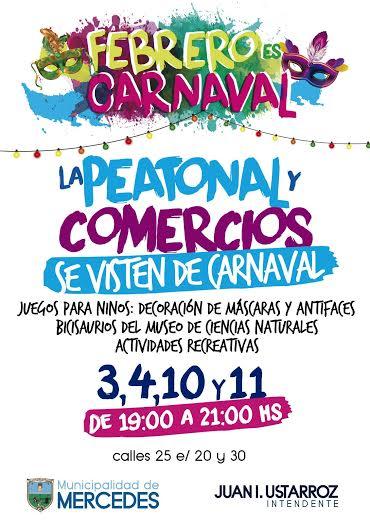 Este miércoles 3 de Febrero la calle 25 y sus comercios se visten de peatonal festiva y carnavalesca