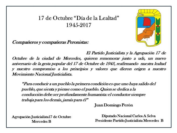 Agrupación 17 de octubre saluda en el Día de la Lealtad