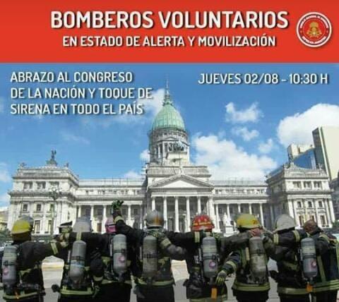#BomberosSomosTodos: estado de alerta y movilización al Congreso