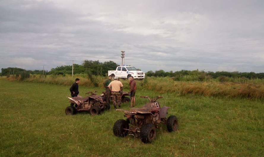 Policía Rural secuestra cuatri ciclos que hacían pruebas de velocidad en vía pública