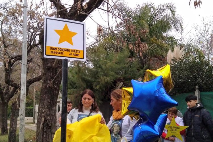 Colocaron una Estrella Amarilla que recuerda a Juan Zuleta