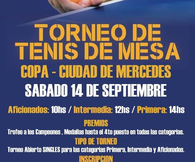 Se realizará un torneo de Tenis de Mesa en Mercedes
