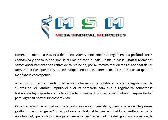 Mesa Sindical Mercedes expresa su preocupación ante falta de tratamiento de Ley Impositiva provincial