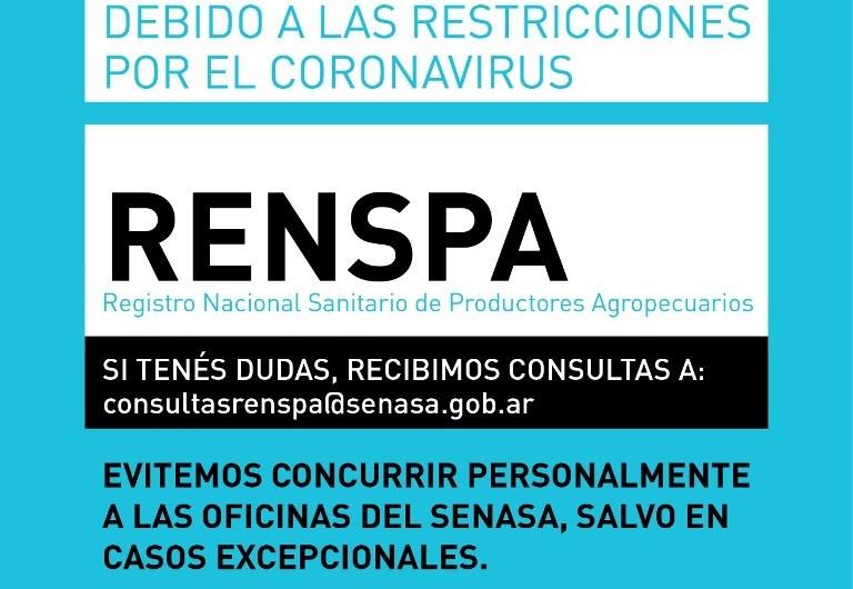 Coronavirus: SENASA recomienda realizar trámites a distancia y evitar concurrir a las oficinas