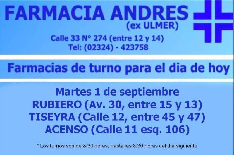 Farmacias de turno día martes 1 de septiembre