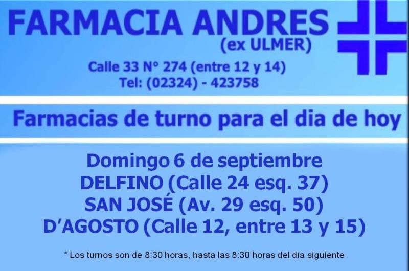 Farmacias de turno domingo 6 de septiembre