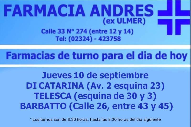 Farmacias de turno día jueves 10 de septiembre